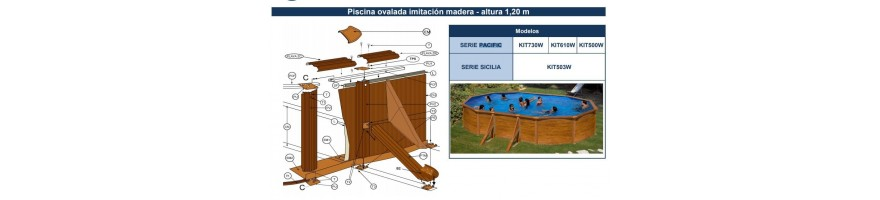 REPUESTOS PISCINAS GRE SERIE PACIFIC / SICILIA IMITACION MADERA